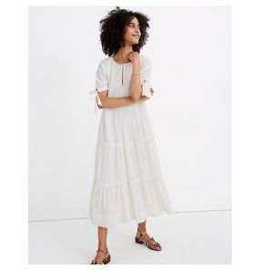 Madewell Tie Sleeve Tiered Midi Dress in Swiss Dot